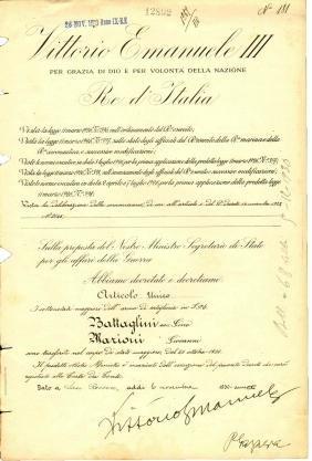 Signature King V. Emanuele III; War Minister P. Gazzera