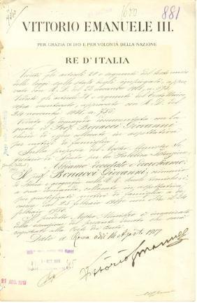 Rome doc. sign. Education minist G Gentile philosopher.