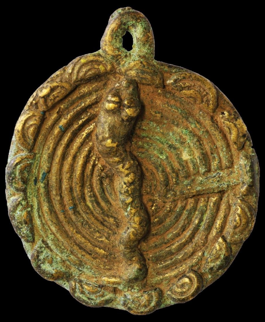 BRASS SUN PENDANT DOGON TRIBE USED BY THE ELITE 1800AD