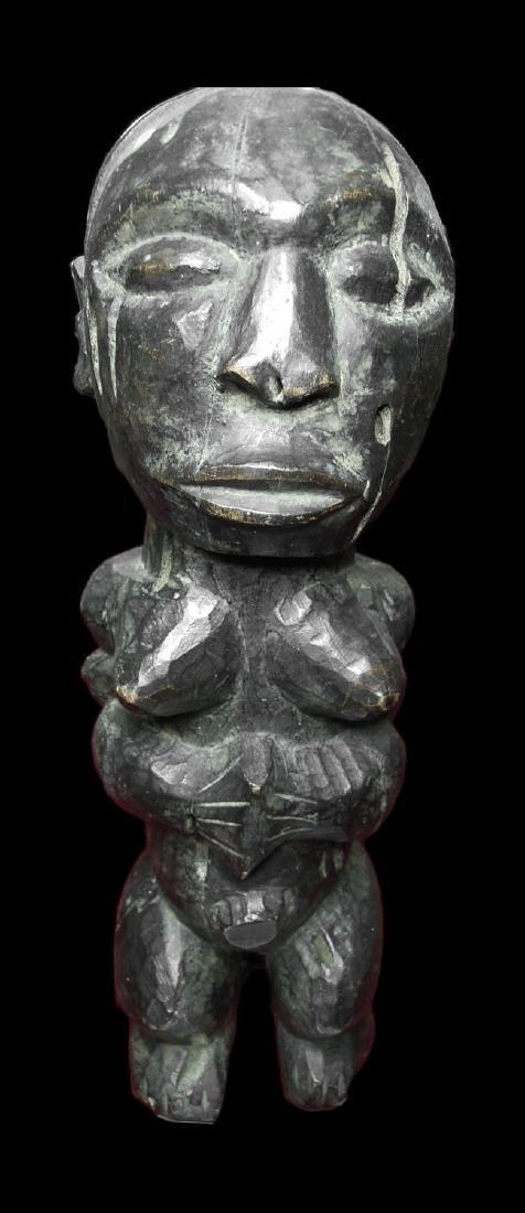 CONGO. HEMBA TRIBE. RARE FETISH FEMALE FIGURE. WOOD