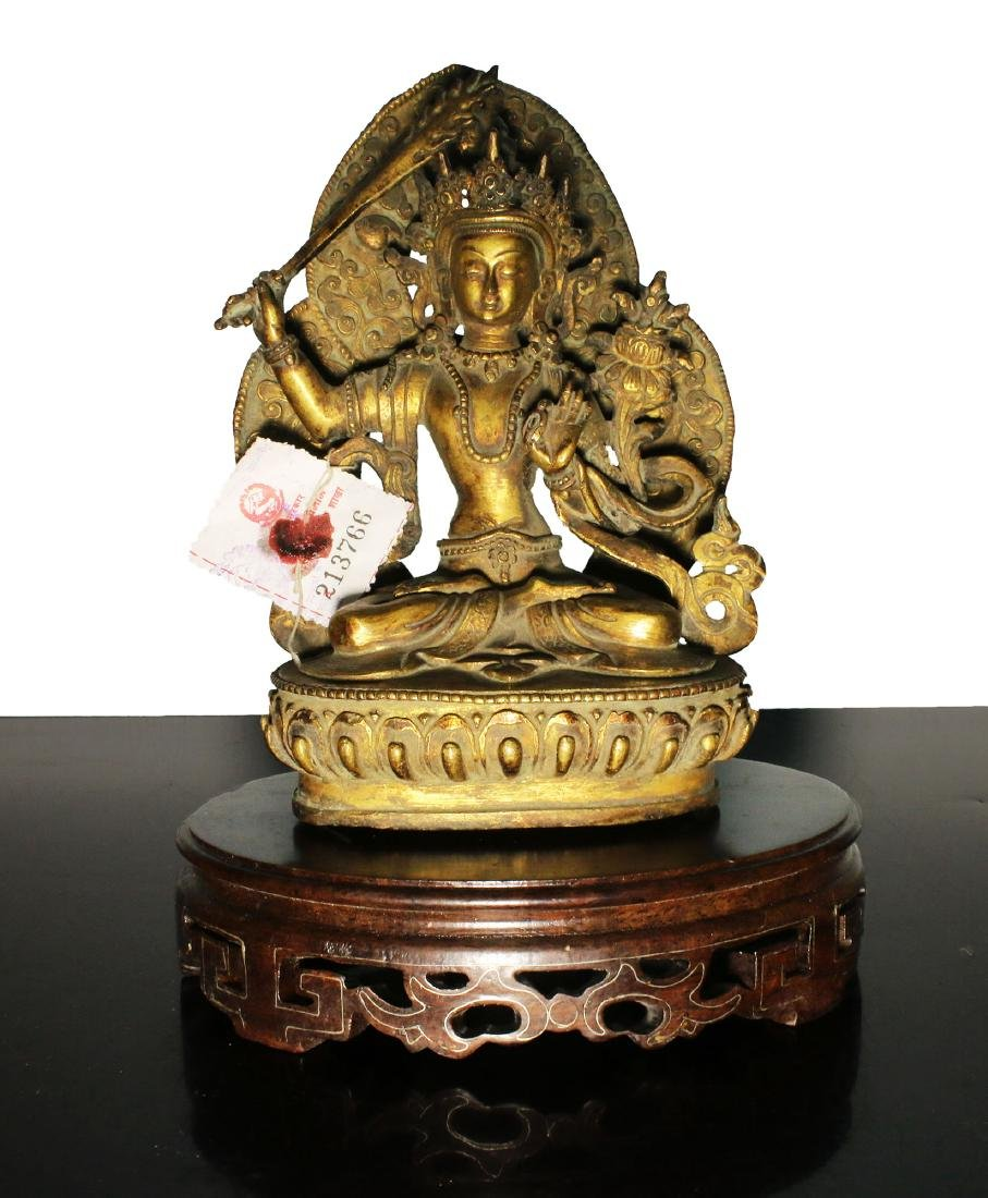 Tibet. Manjushri Buddha bronze statue. End of 1800. 760