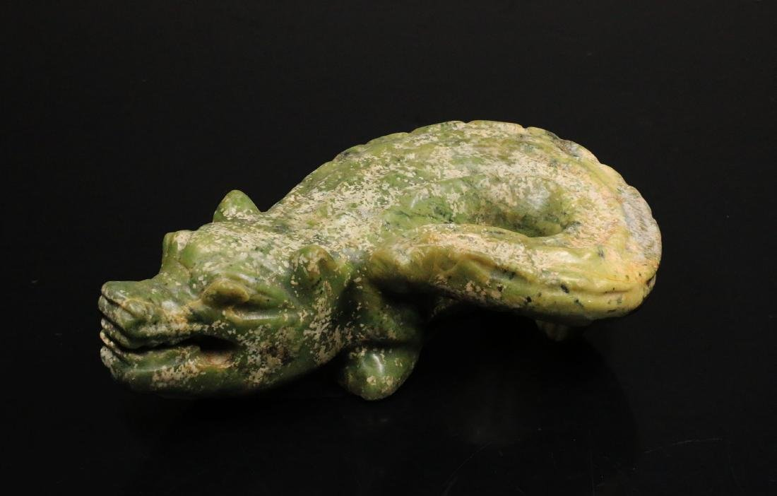 Handcarved green jade statue of crocodile. 1850 AD 1,7