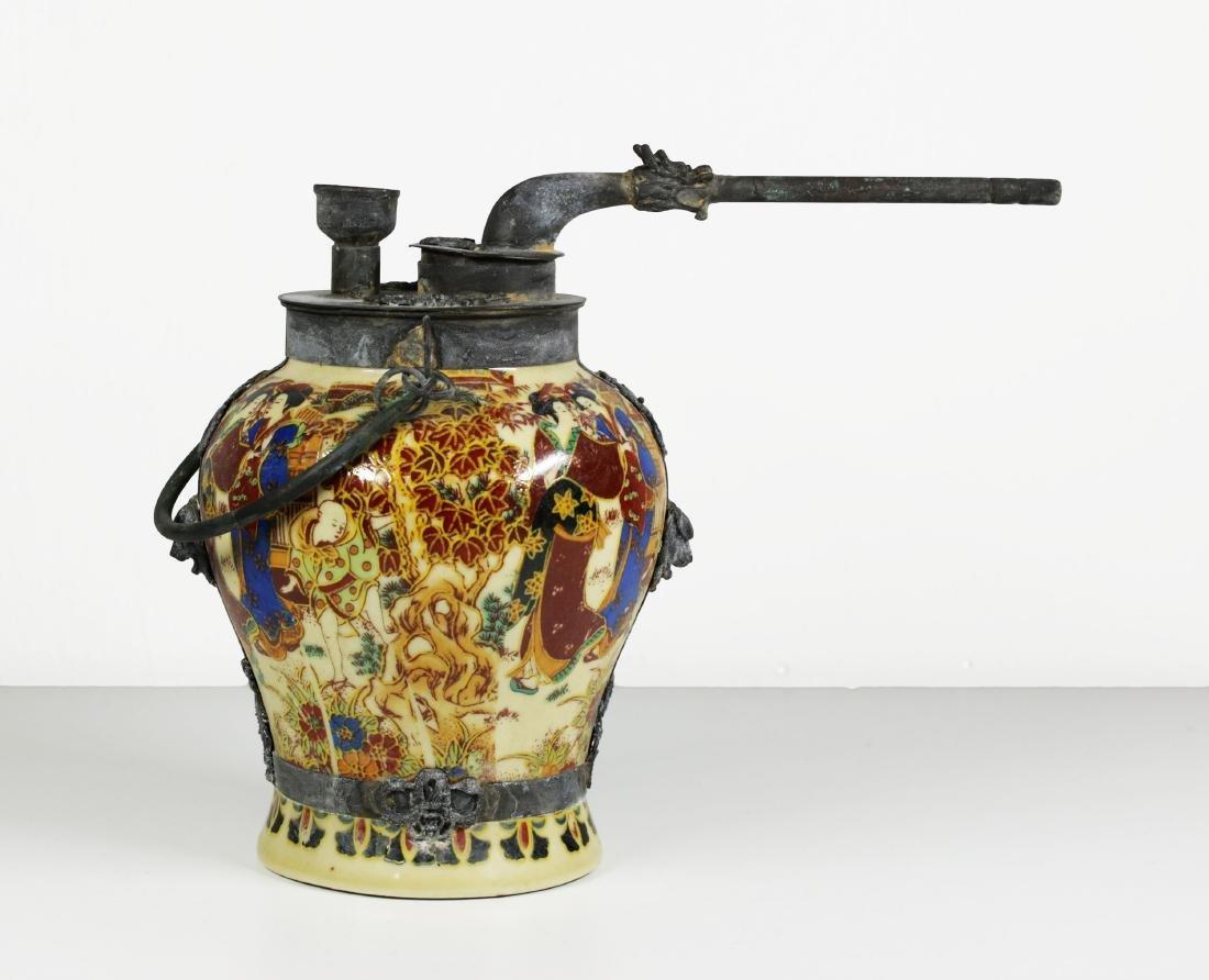 Porcelain water pipe. Handmade painted 1920 circa - 2