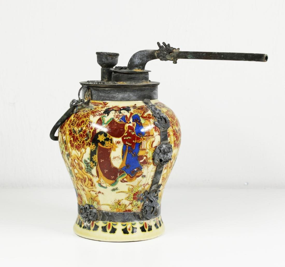 Porcelain water pipe. Handmade painted 1920 circa - 3