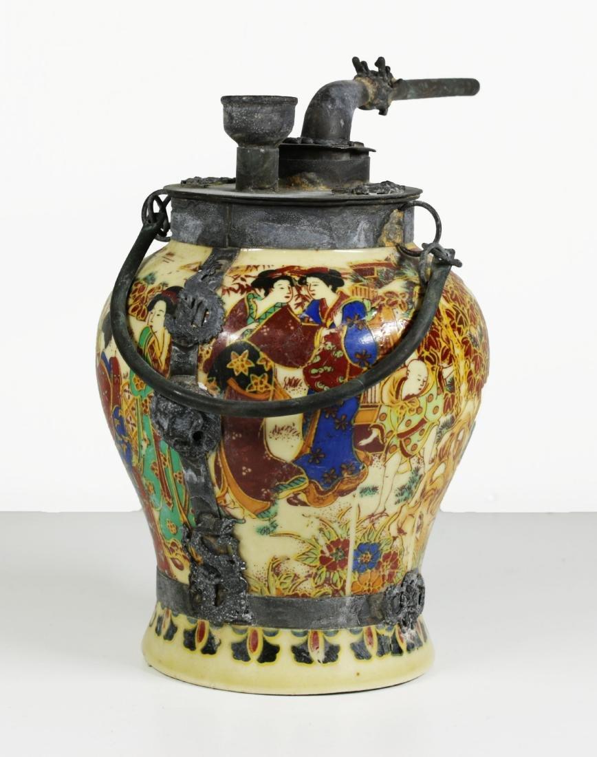 Porcelain water pipe. Handmade painted 1920 circa - 4