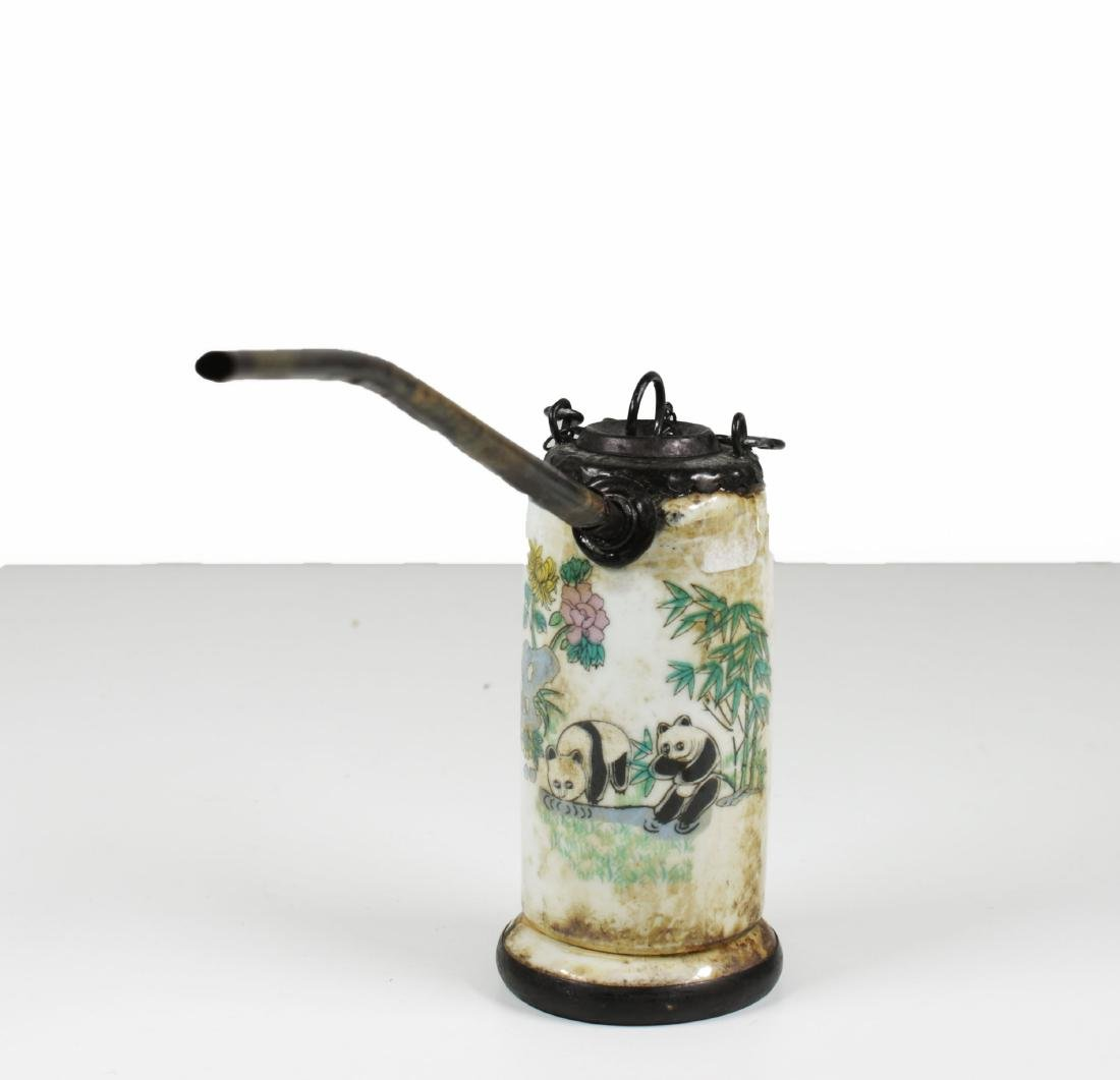 Porcelain water pipe. Handmade painted Late Qing