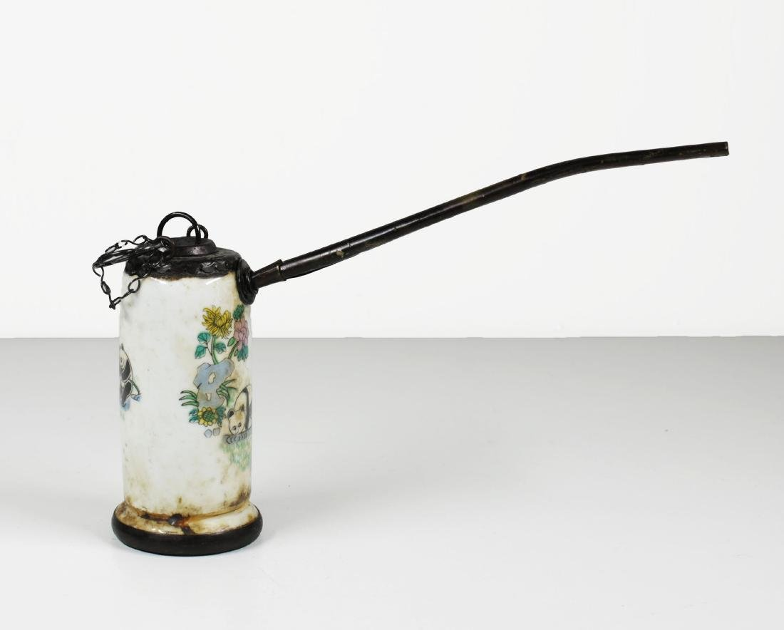 Porcelain water pipe. Handmade painted Late Qing - 5