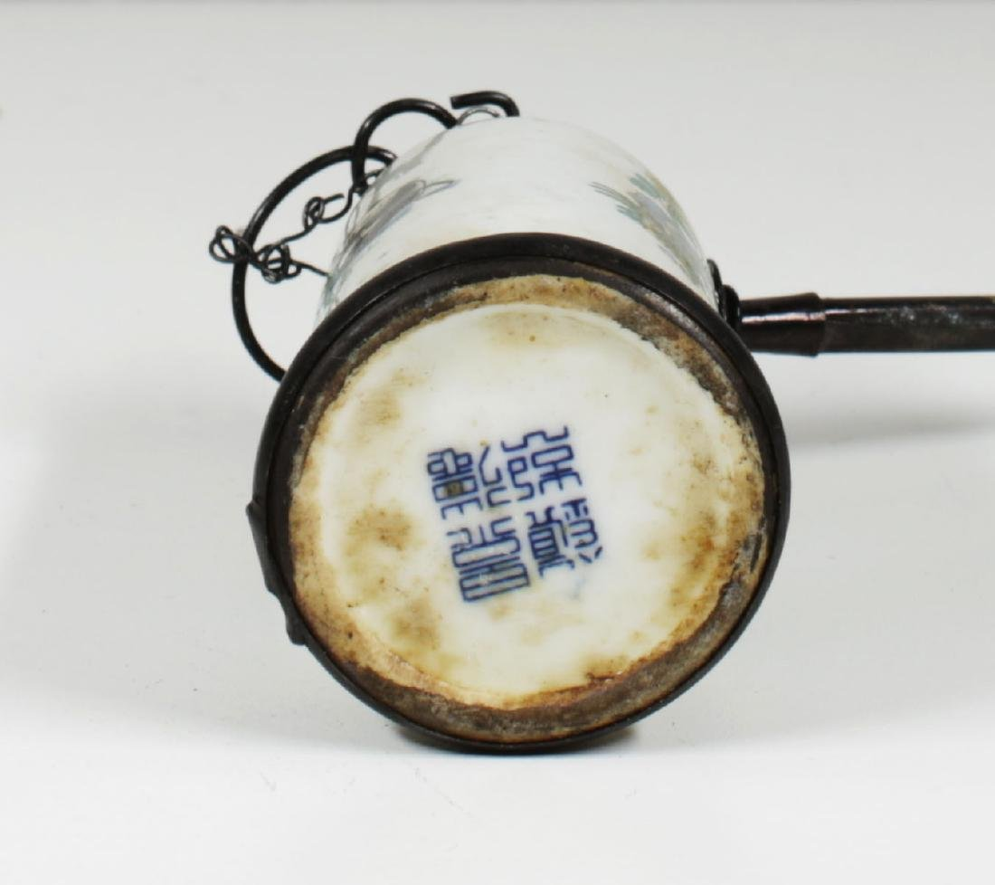 Porcelain water pipe. Handmade painted Late Qing - 6