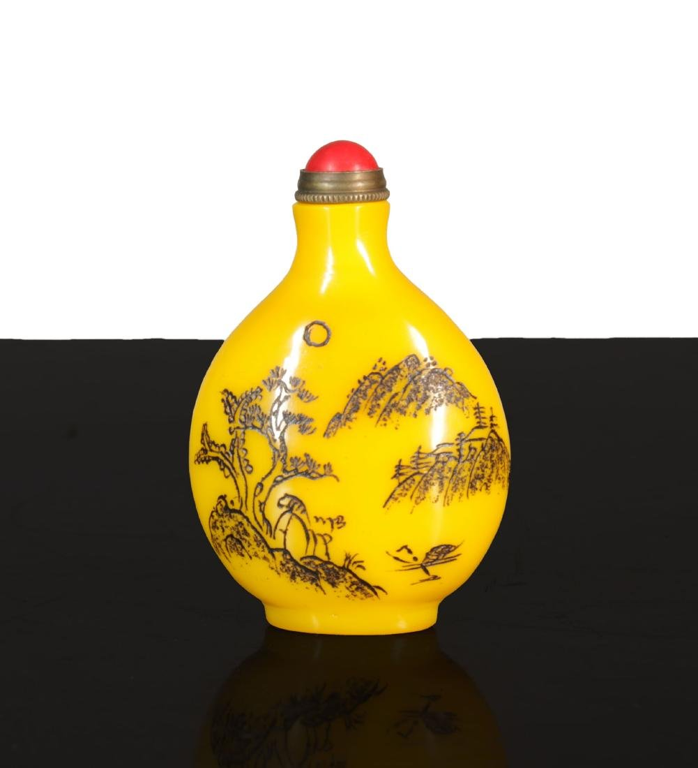Antique chinese Imperial Yellow Glass snuff - 5
