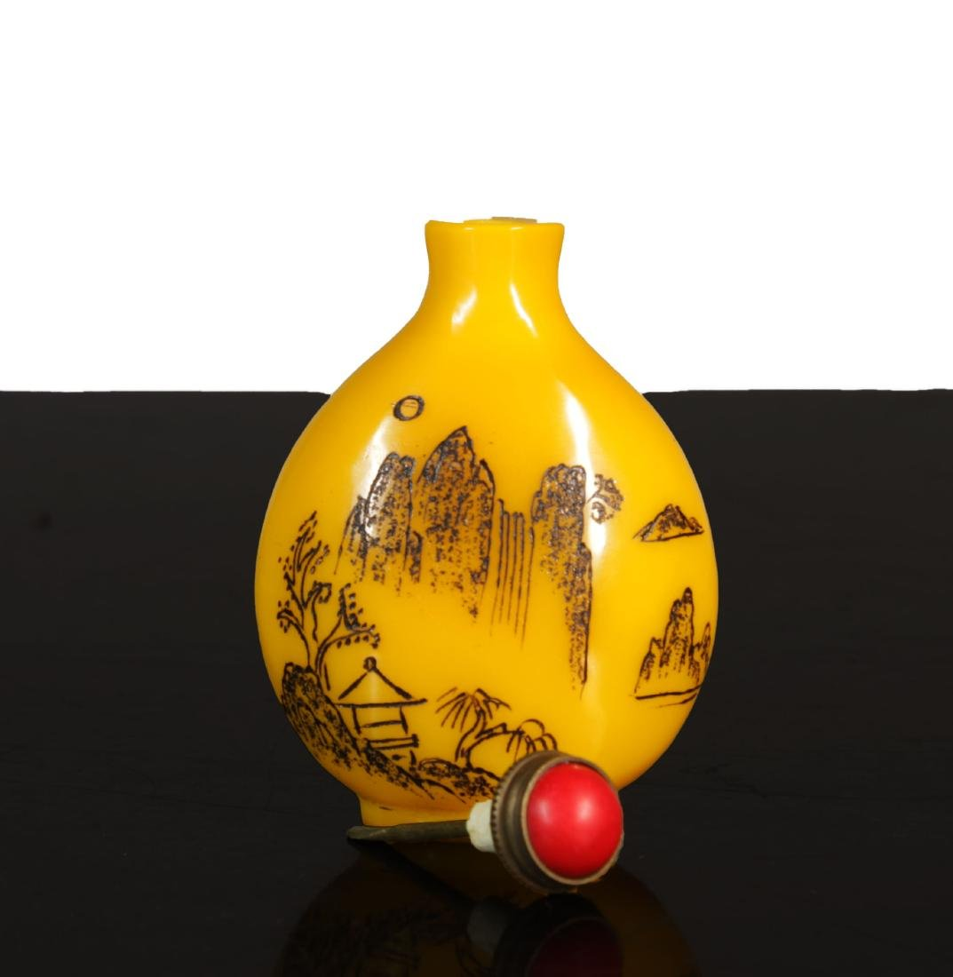 Antique chinese Imperial Yellow Glass snuff - 8