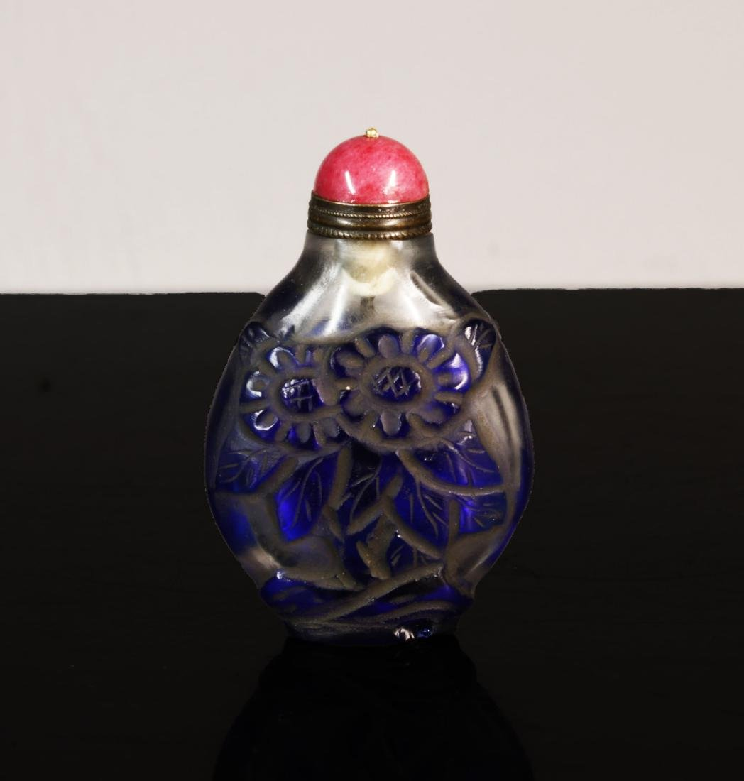 China Beijing Old chinese Blue glass snuffle bottle - 2