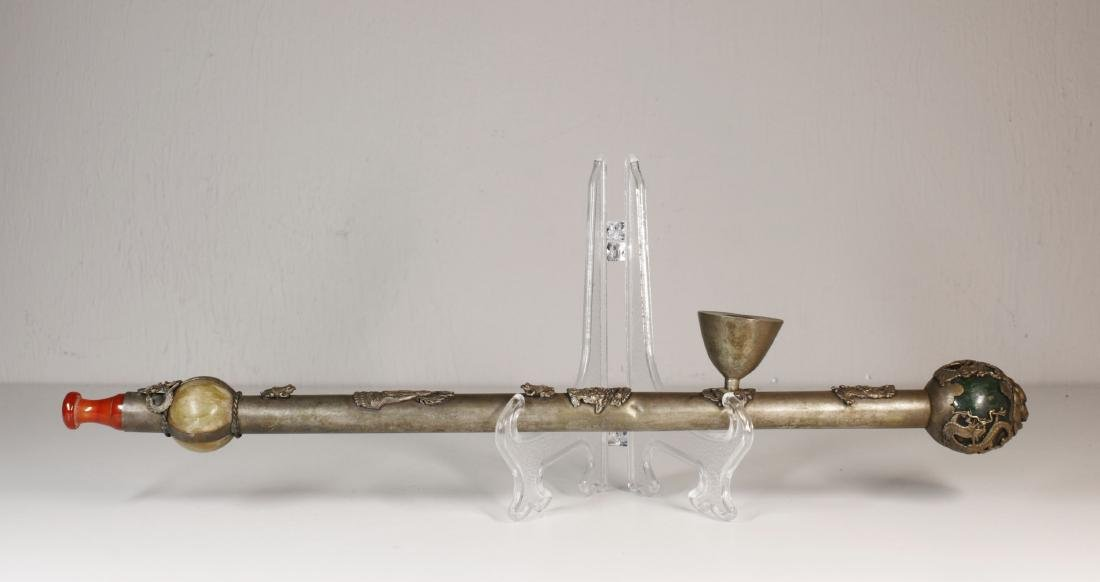 Opium metal pipe with jades decoration Qing dynasty