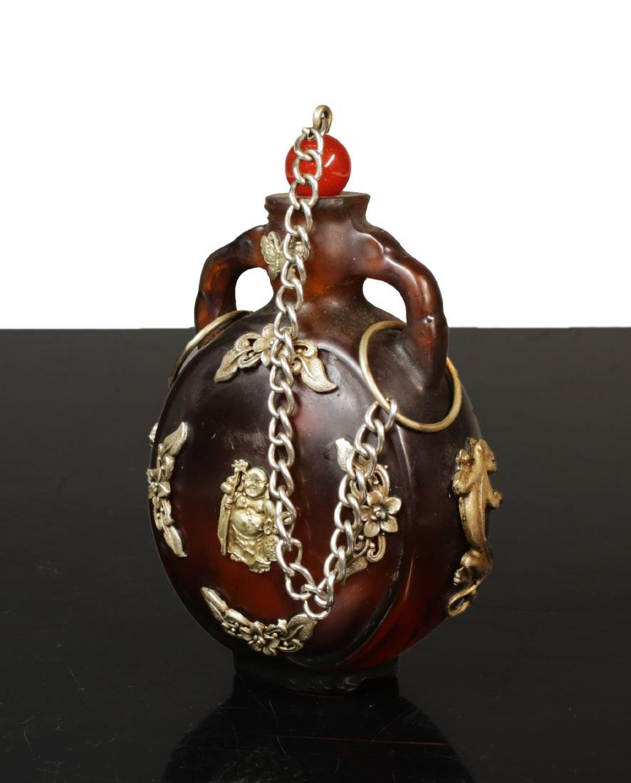 Min Guo period. 1920 circa. Amber glass snuff bottle - 3
