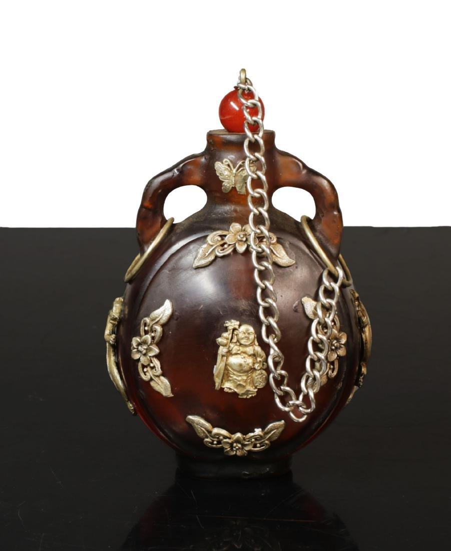 Min Guo period. 1920 circa. Amber glass snuff bottle - 4