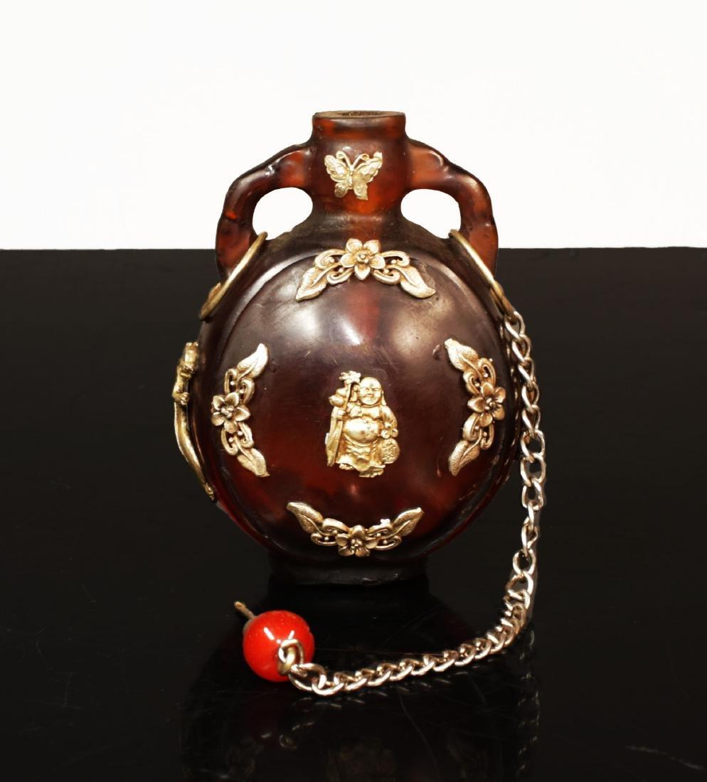 Min Guo period. 1920 circa. Amber glass snuff bottle - 6
