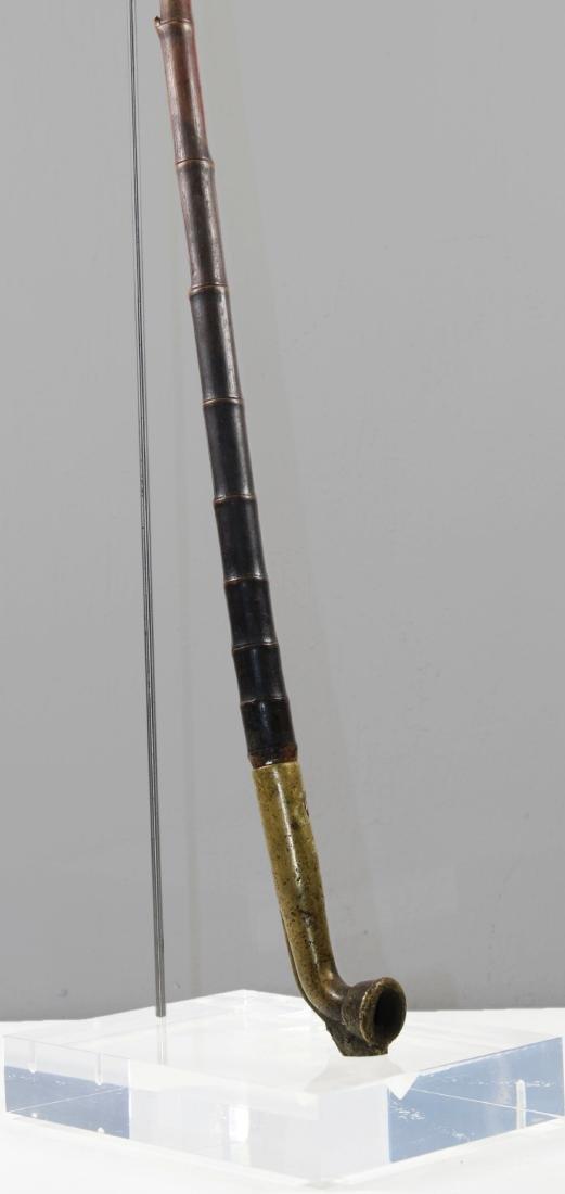 China Shanxi 1880 AD Ancient long pipe brass&Bamboo - 2