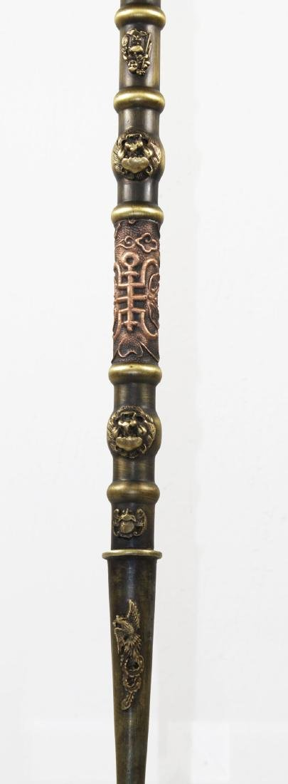 Hebei province Qing 1850AD Brass opium pipe 73 cm - 6