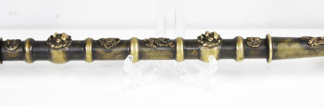 Hebei province Qing 1850AD Brass opium pipe. 50 cm - 5
