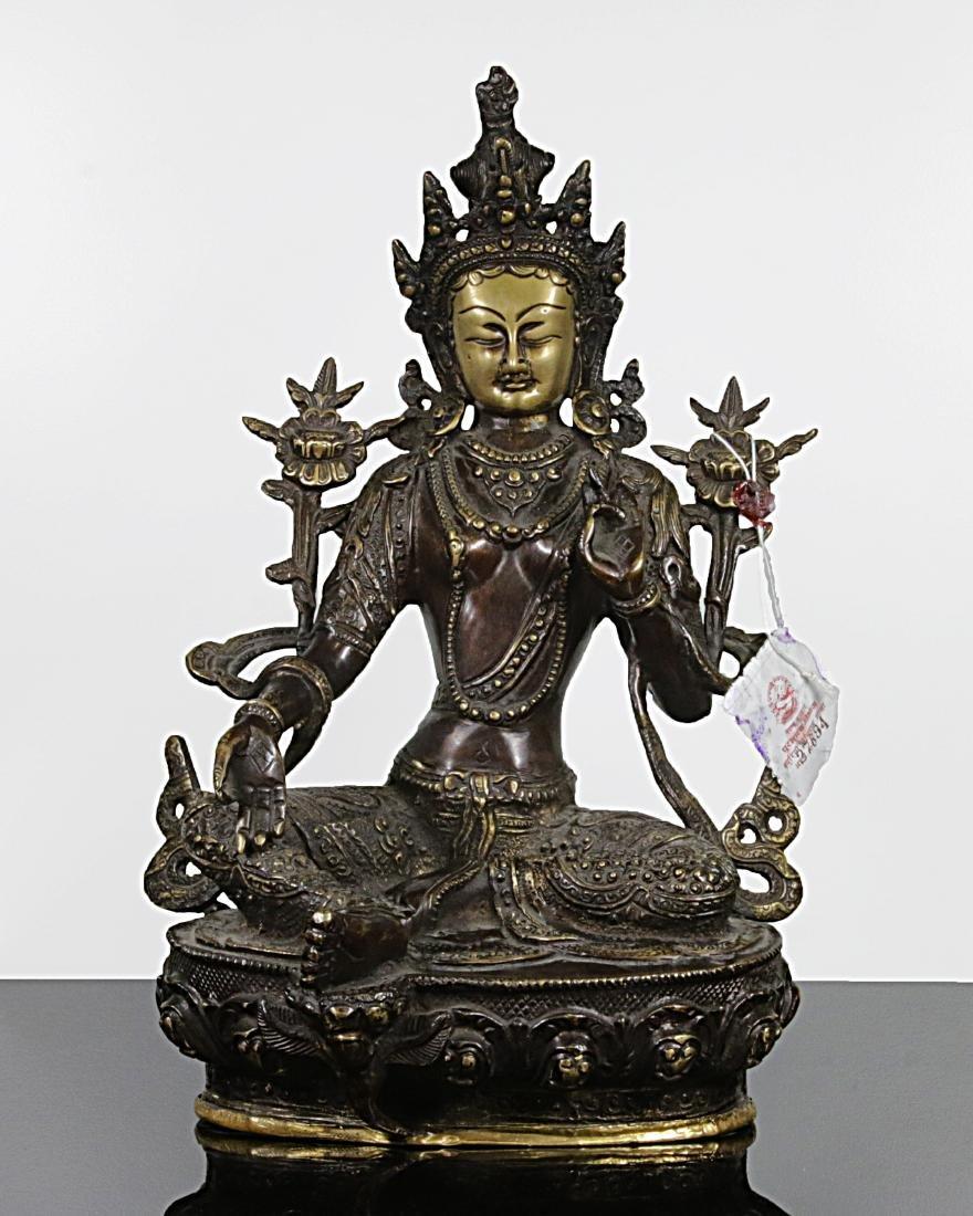 Tibet 1920 AD Impressive bronze statue of Green Tara