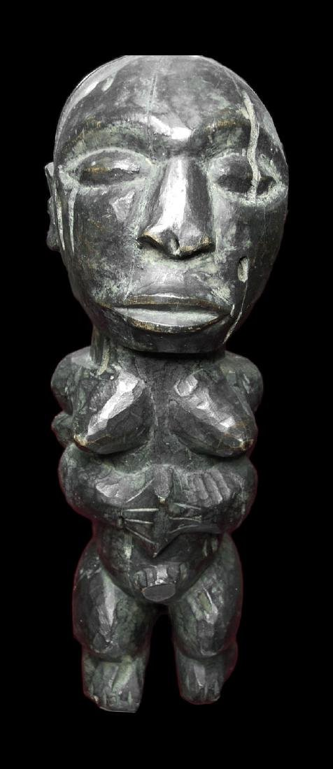CONGO HEMBA TRIBE RARE FETISH FEMALE FIGURE. WOOD 1,6