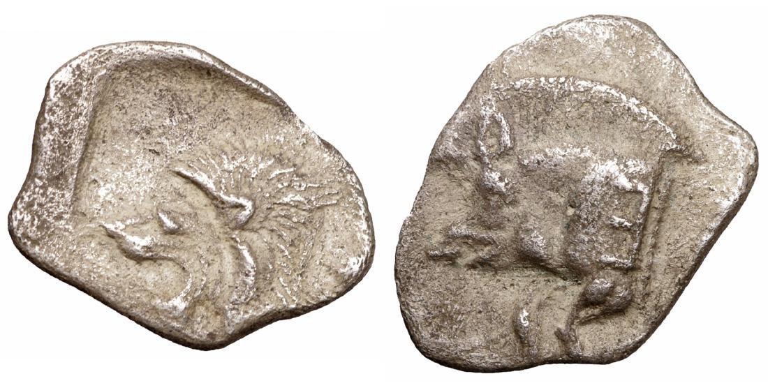 MYSIA. Cyzicus. 480-400 B.C. AR Obol. XF