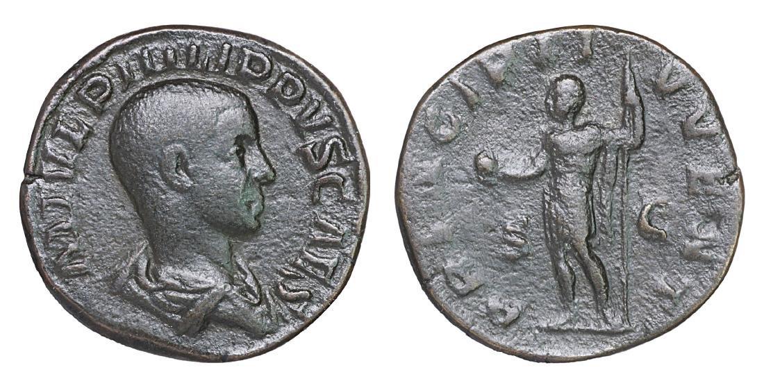 PHILIP II. 244-247 AD. SESTERTIUS aXF