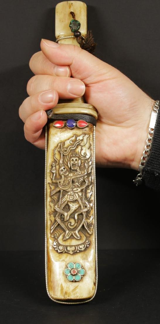 Tibet 1940/50 AD Bone Carved knife 27,5 cm. Citipati - 2
