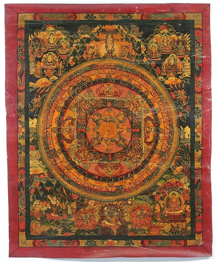 Tibet Handmade Old Mandala-Thangka Oil painted 37x31 cm