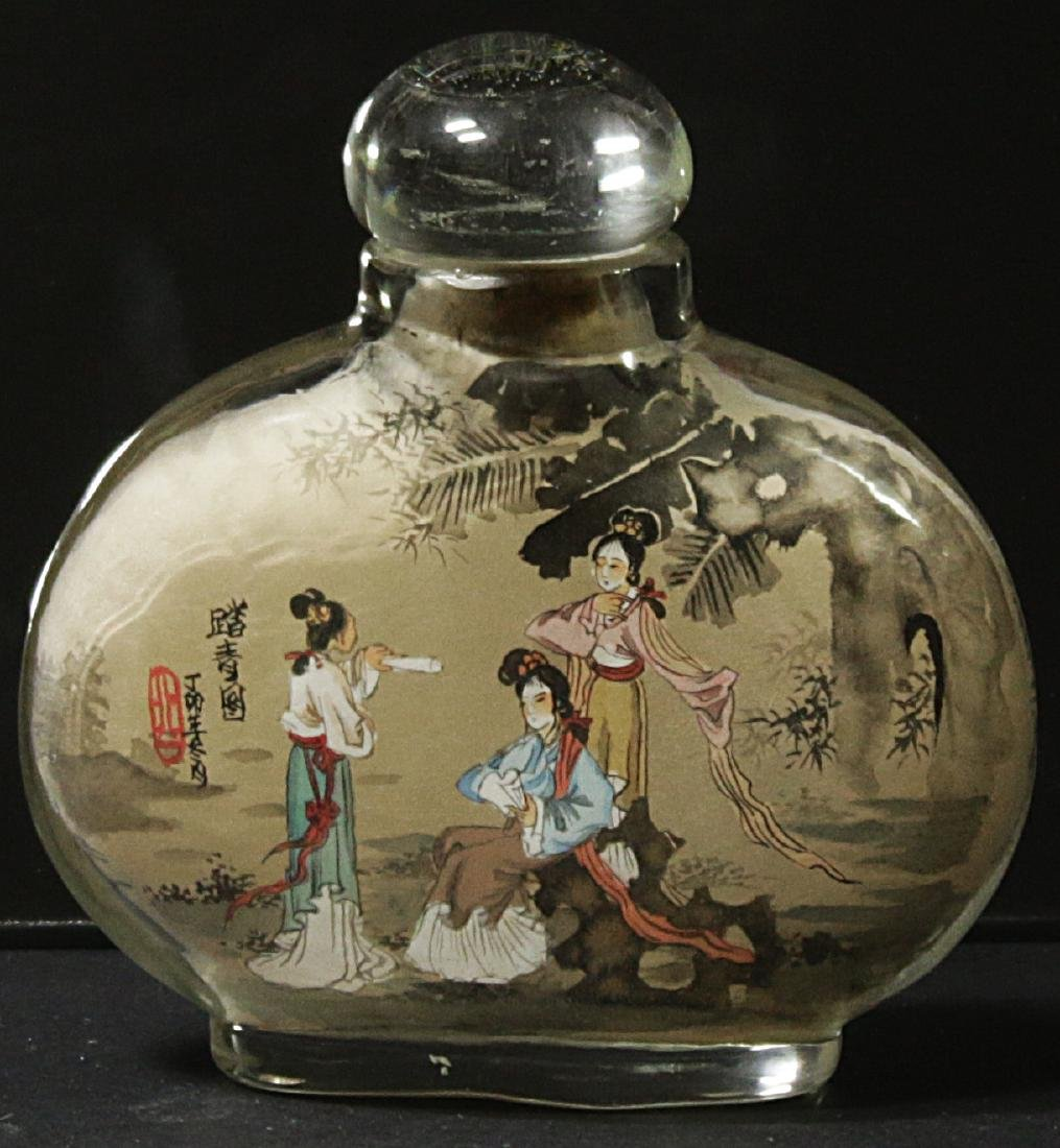 China. Glass snuff bottle decorated handmade painted