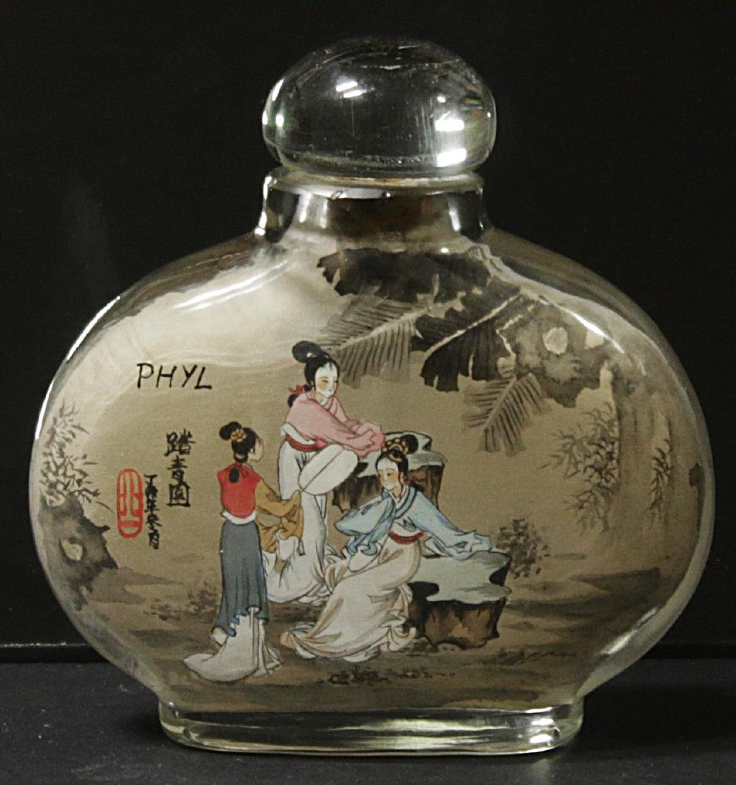 China. Glass snuff bottle decorated handmade painted - 2