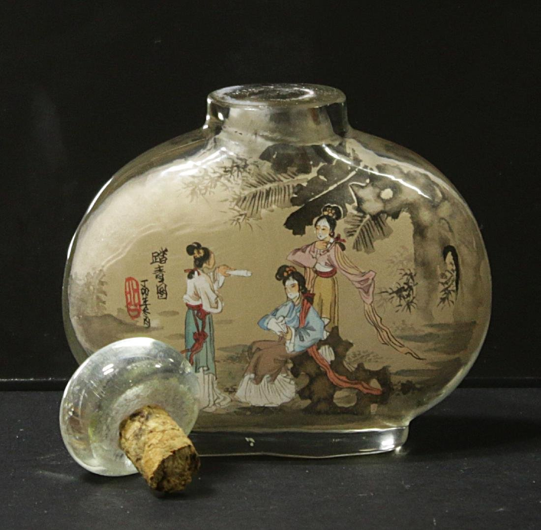 China. Glass snuff bottle decorated handmade painted - 3