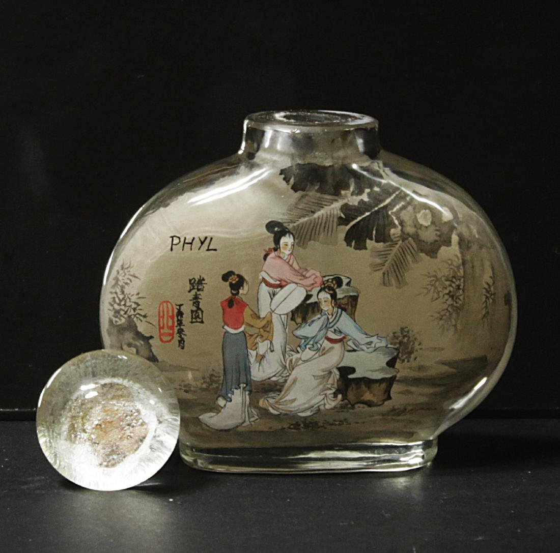 China. Glass snuff bottle decorated handmade painted - 4