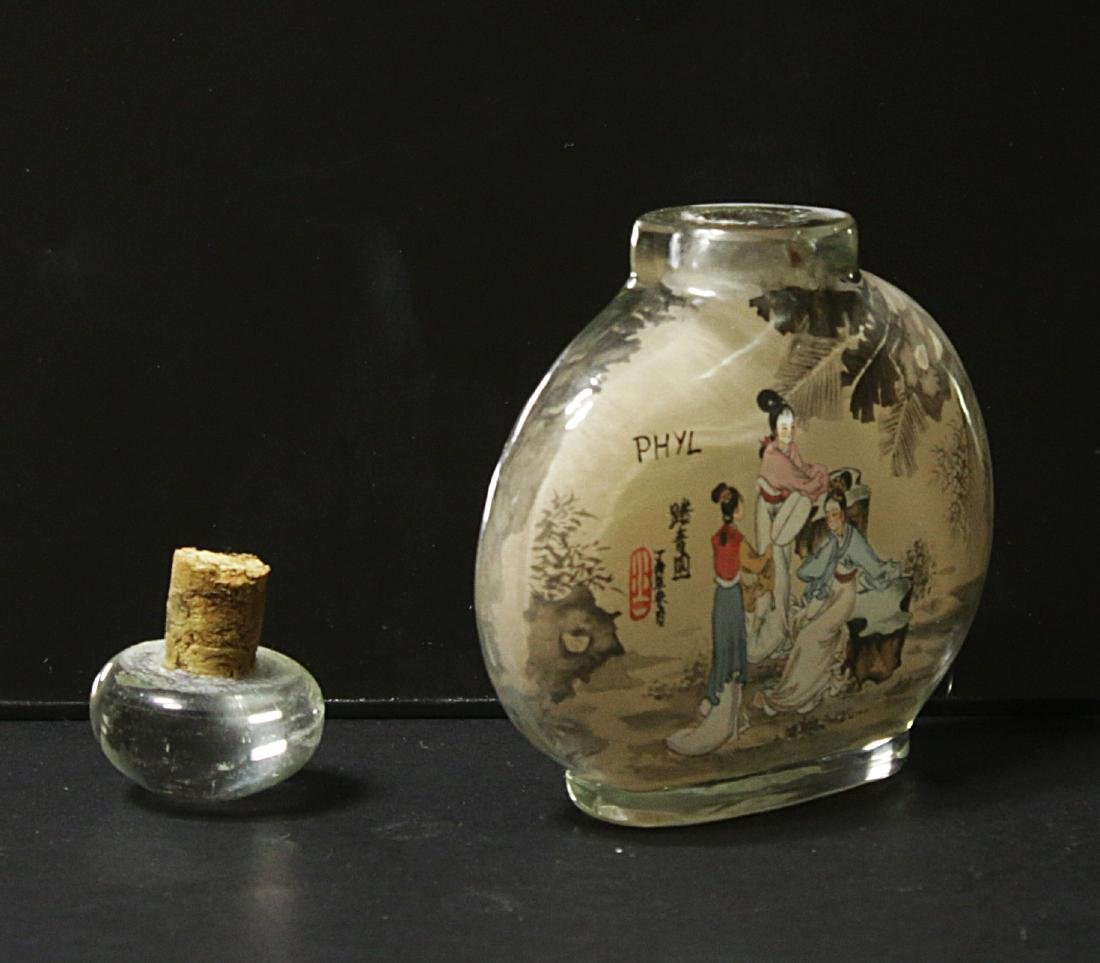 China. Glass snuff bottle decorated handmade painted - 5