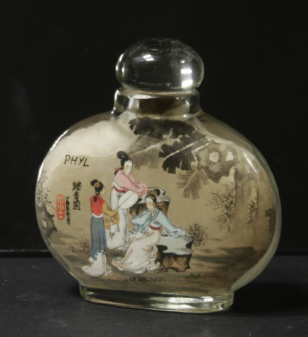 China. Glass snuff bottle decorated handmade painted - 6