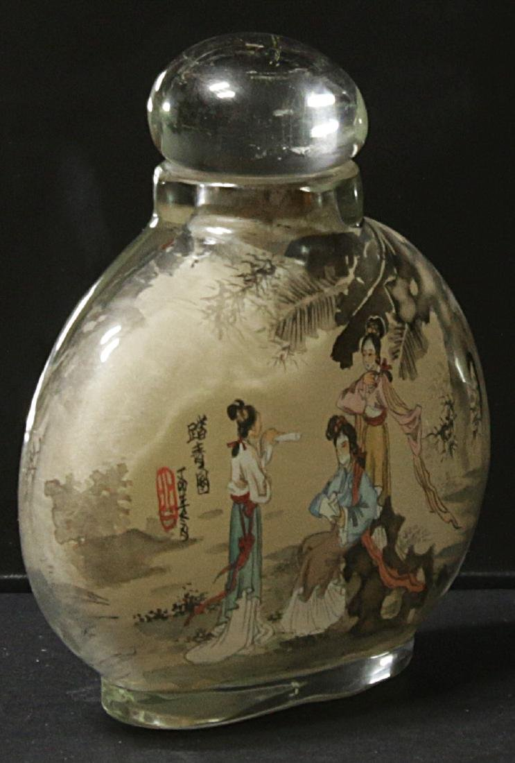 China. Glass snuff bottle decorated handmade painted - 7