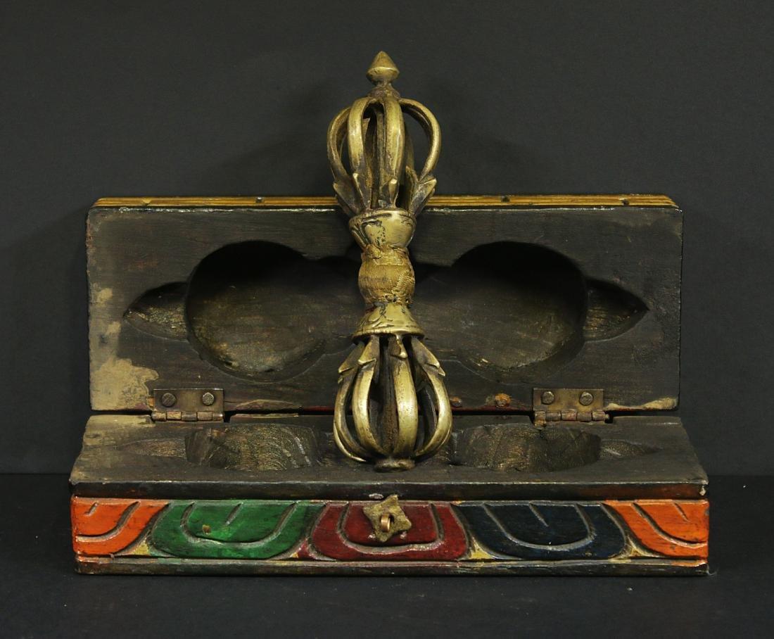 Tibet 1950 Bronze Tibetan Dorje or Vajra wooden box