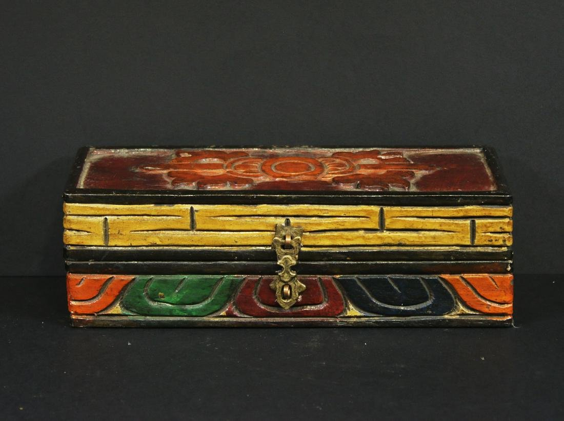 Tibet 1950 Bronze Tibetan Dorje or Vajra wooden box - 4