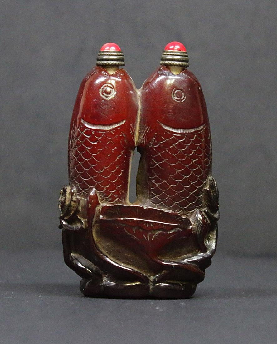 China 1920 Handcarved horn snuff bottle