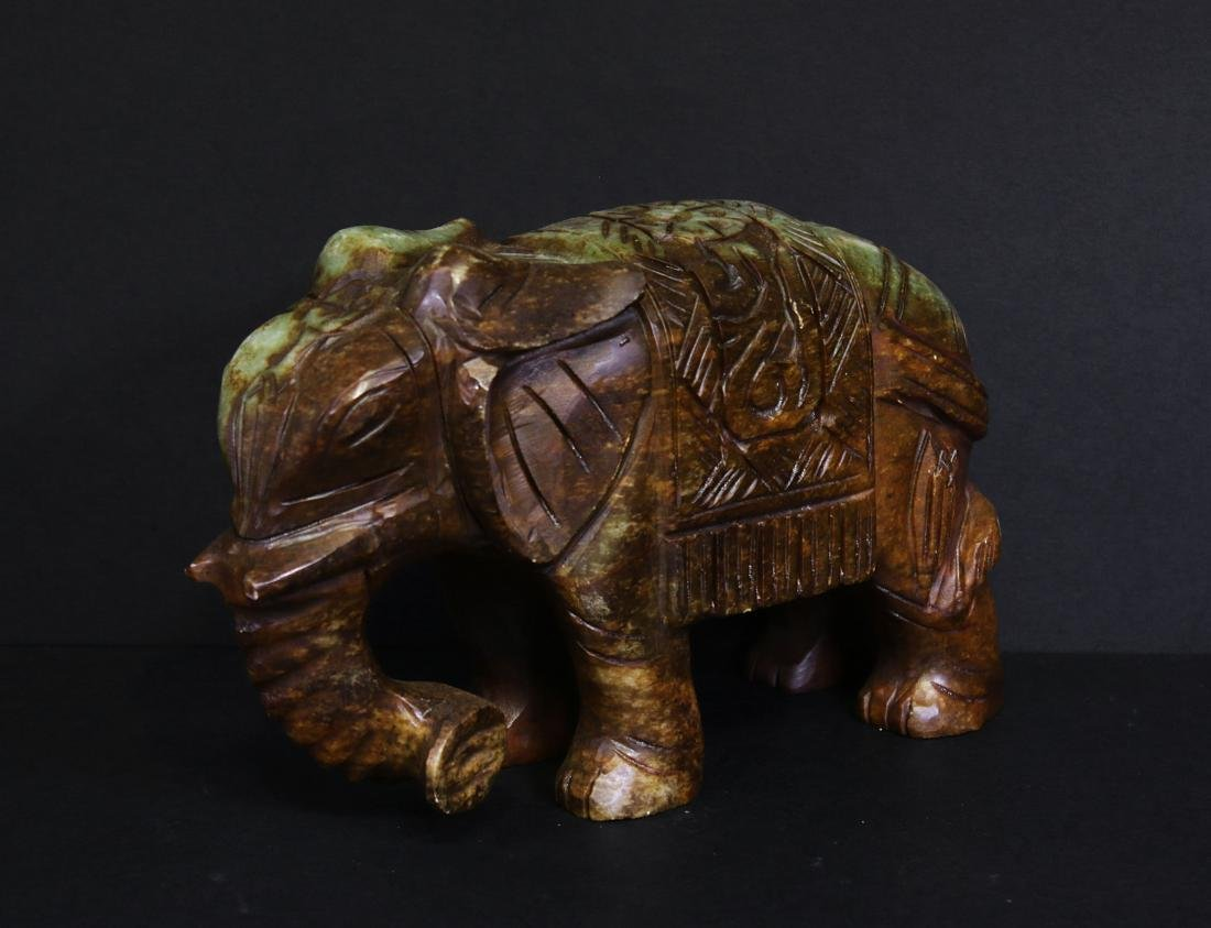 Carved elephant jade. Green-brown colour - 2