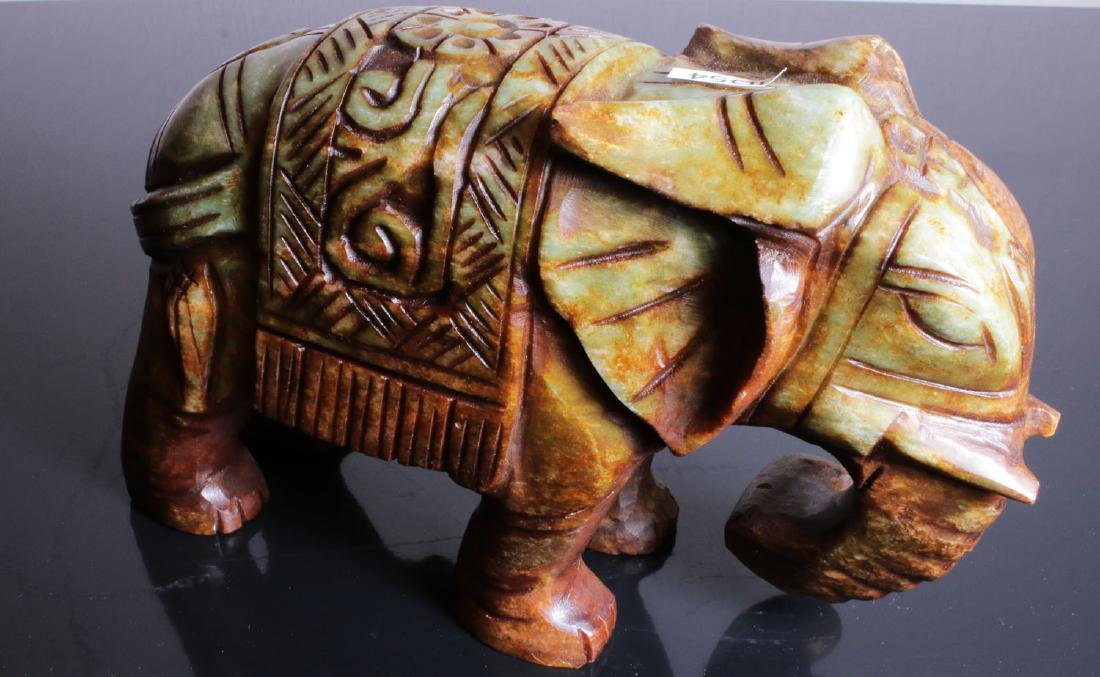 Carved elephant jade. Green-brown colour - 5