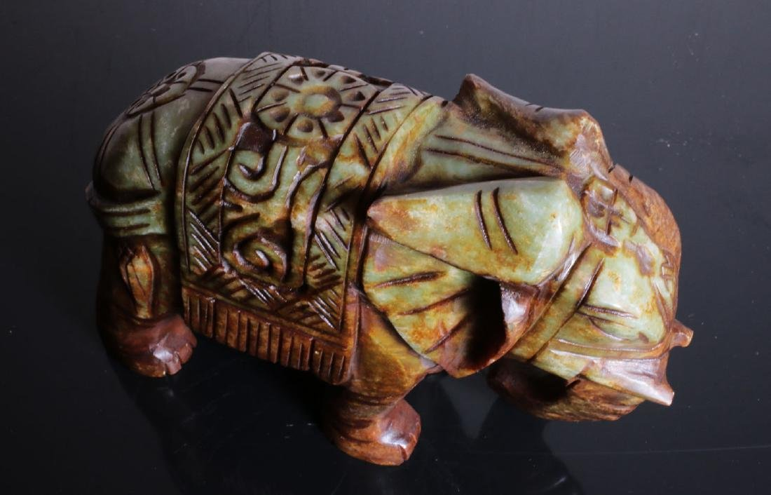 Carved elephant jade. Green-brown colour - 7