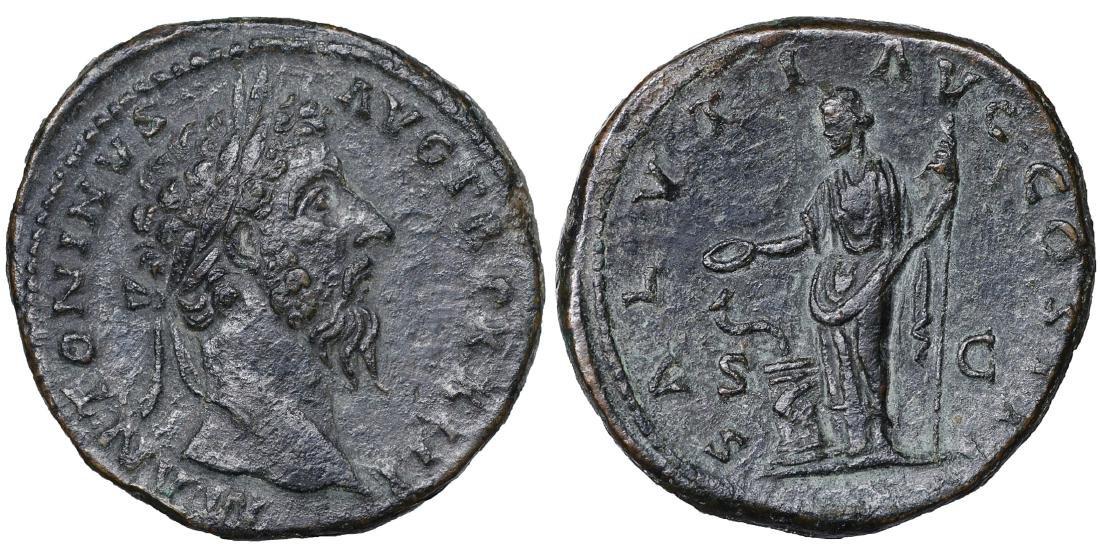 Marcus Aurelius 161-180 AD AE Sestertius XF