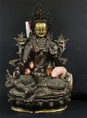 Tibet 1920 AD Impressive bronze statue of Green Tara 31