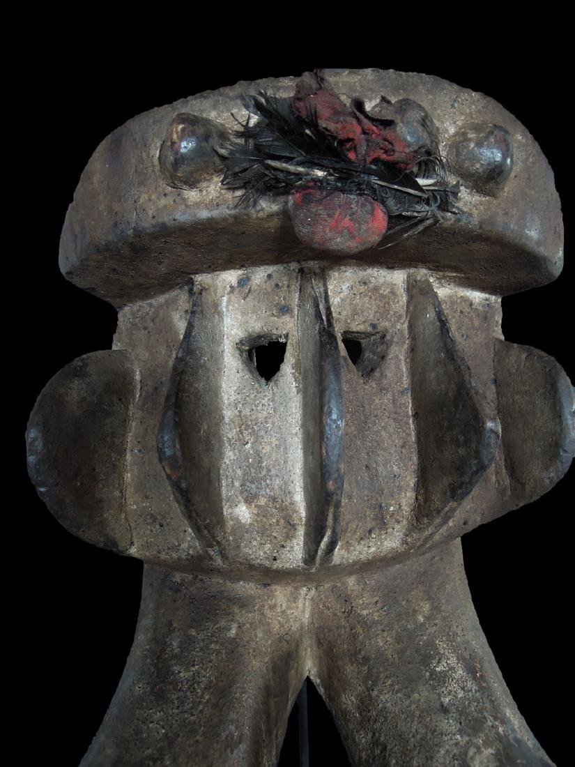 Ivory Coast Senufo people Wooden carved mask 40x36 cm - 3