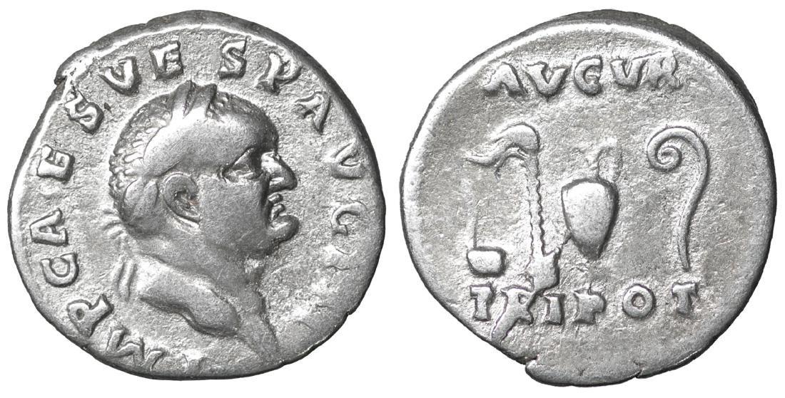 Vespasian. 69-79 AD. AR Denarius. XF Roman Empire