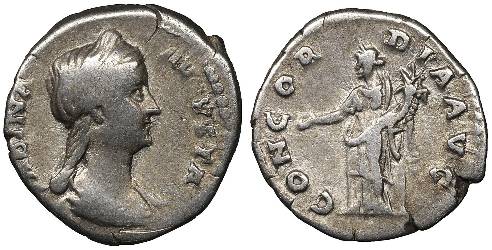 SABINA wife of Hadrian Silver Denarius Struck 128 AD