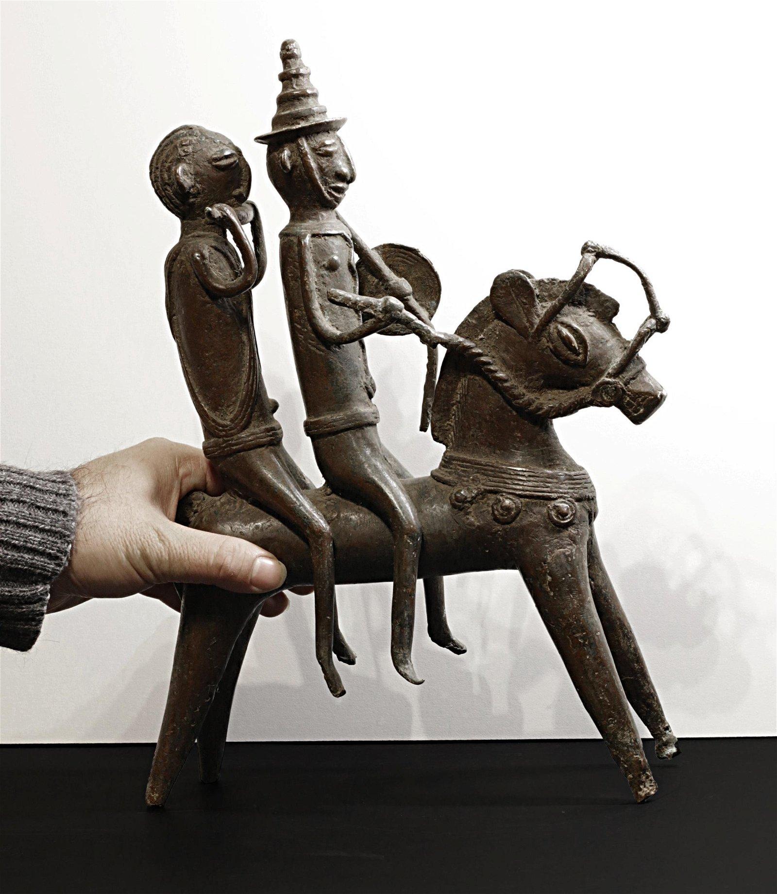 Benin Yoruba People 1850 Bronze Statue of horseman and