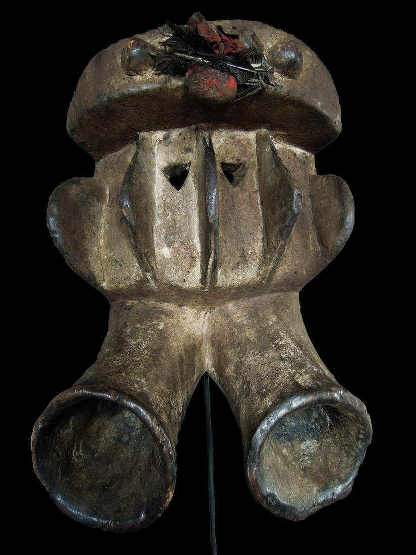 Ivory Coast Senufo people Wooden carved mask 40x36 cm