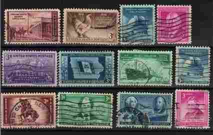 U.S.A. lot of 12 stamps 1946/1947