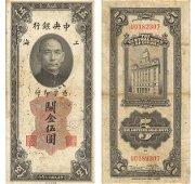China. Central Bank. 5 Custom gold units 1930. VF\XF